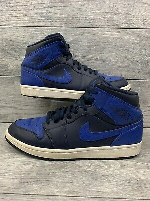 2a5900e94d0fdf Nike Air Jordan 1 Mid Retro Mens Size 12 Obsidian Game Royal Blue 554724-412