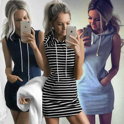 Womens Pullover Summer Slim Hoodies Bandage Tops Size 6-14 Bodycon Mini Dress