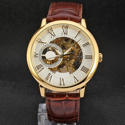 Luxury Mens Punk Skeleton Stainless Steel Automatic Mechanical Wrist Watch A#