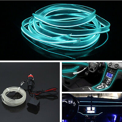 Car 12V Ice Blue Cold light lamp Neon Lamp EL Wire Atmosphere Fluorescent Strips