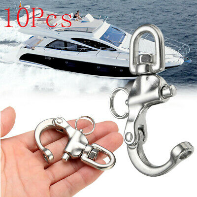 10Pcs/Set 316 Stainless Steel Boat Anchor Chain Eye Shackle Swivel Snap Hook