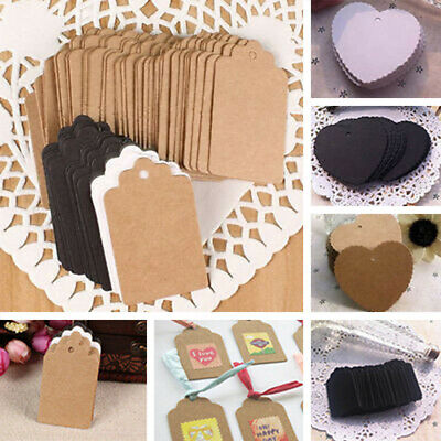 100 Notes Kraft Label For Scallop Baggage Tag Diy Gift Card Wedding Decoration