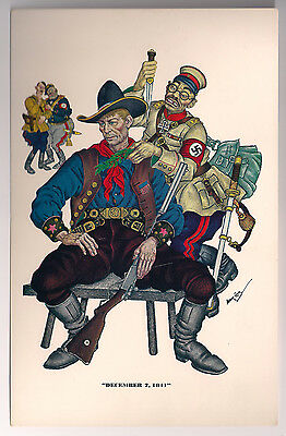 Set of 6 Arthur Szyk Artwork WWII anti-fascist Postcards Esquire Mag w/Envelope