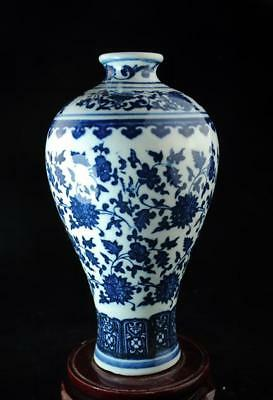 Chinese Old Blue And White Porcelain Hand-Made Hand Painted Flower Vase