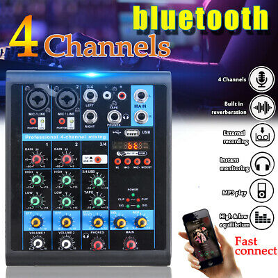 Pro bluetooth 4 Channels Mixer Mixing Console Sound Live Studio Audio Stage KTV