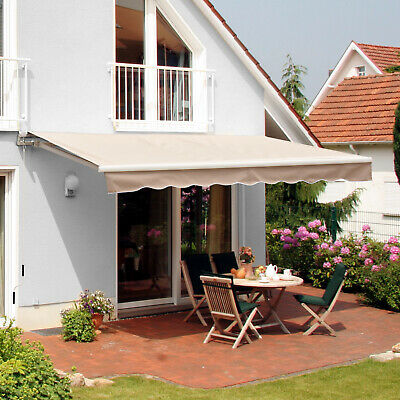 Outsunny 2.5 x 2m Patio Awning Manual Retractable Shade Outdoor Canopy Shelter