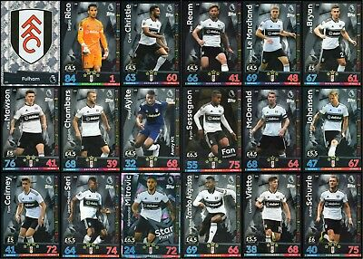 Match Attax 2018/19 Fulham 18 Card Full Complete Team Set - Base
