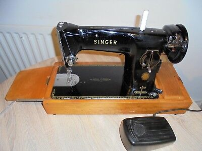 Singer 201K Vintage Electric Sewing machine Machine, SEE LEATHER SEWN SAMPLE