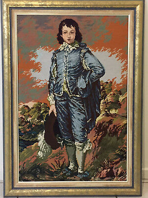 Blue Boy - framed tapestry. Perfectly worked and professionally framed.
