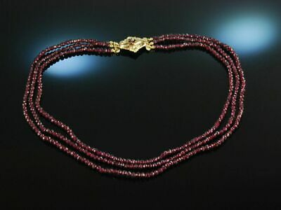 Biedermeier Um 1870! Apartes 3Reihiges Granat Collier Necklace Schaum Gold 333