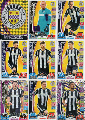 MATCH ATTAX 2017/18 SPFL - ST MIRREN FULL 9 CARD TEAM SET inc. MAN OF THE MATCH