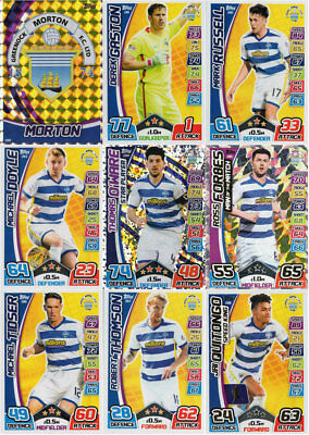 MATCH ATTAX 2017/18 SPFL MORTON FULL 9 CARD TEAM BASE SET inc. MAN OF THE MATCH