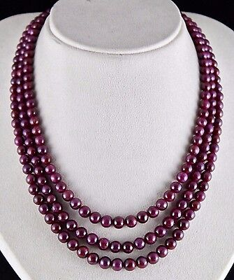 Untreated Natural Red Ruby Beads Round 3 Line 638 Cts Precious Gemstone Necklace