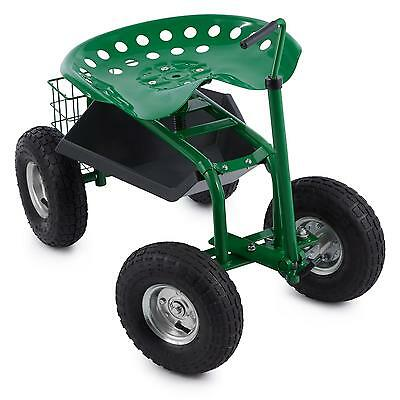 Waldbeck 4 Wheels Garden Chair Patio Outdoor Large Storage Area Steel Green