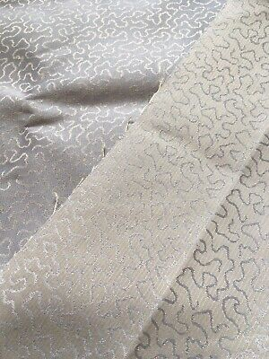 Huge Vintage Fabric Remnant, Shiny, Double Sided Grey Gold 140cms X 236cms Long
