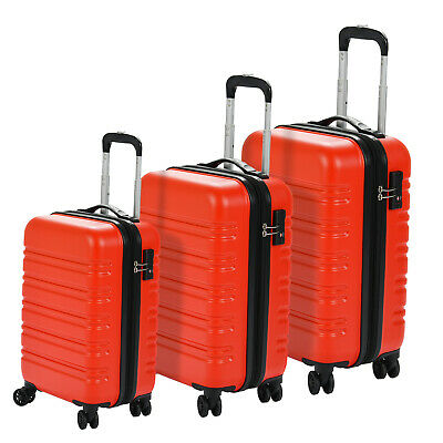 Set of 3  Luggage Set Travel Bag Expandable ABS Spinner Suitcase TSA Lock Red