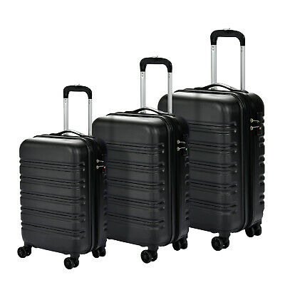 Set of 3  Luggage Set Travel Bag Expandable ABS Spinner Suitcase Black