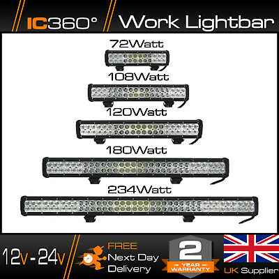 IC360 4K LED 12 - 24v High Powered Work Light Bar Flood Offroad Roof Light 4x4