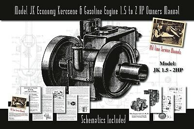 Model JK Economy Kerosene & Gasoline Engine 1½ to 2 HP Service Manual Parts List