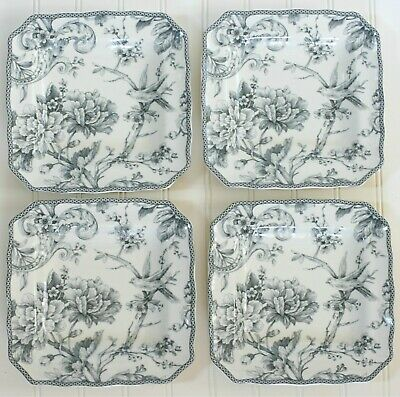 NEW 222 FIFTH ADELAIDE Grey Silver Black Set Of 4 Salad Plates Toile Birds