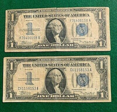 """(2) 1934 $1 United States Silver Certificate """"Funny Back""""  Notes - No Res"""