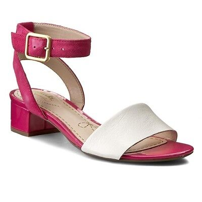 a5636bbd1f700 BNIB Clarks Sharna White Pink Leather Ankle Strap Low Block Heel Sandals Sz  5 38