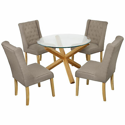 Groovy Oporto Round Glass Solid Oak Dining Table 4 White Eames Uwap Interior Chair Design Uwaporg