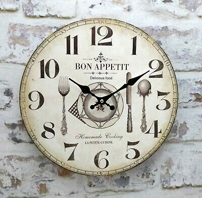 Bon Appetit French Cafe Vintage Distressed French Style Wall Clock Quartz