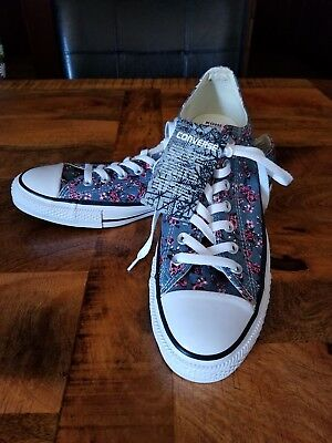 All Star Converse Ox Blue Denim Floral Print Sneakers Shoes Women s Size 12  NEW c800a206e