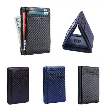 Carbon Fiber RFID Block Leather Wallet Money Clip Credit Card Holder Coin Pocket