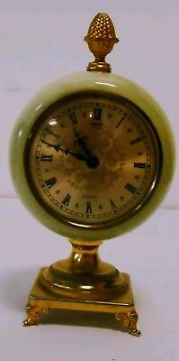 Retro Green Onyx Clock on own Brass coloured Stand. Vintage, Collectors piece