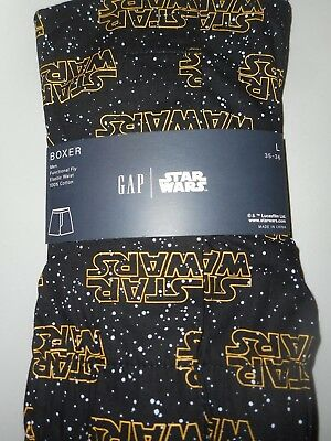 GAP NWT Men's Lrg 35 36 waist black w white dots yellow Star Wars  cotton boxer