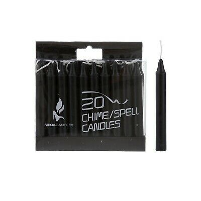 """Mega Candles - Unscented 4"""" Chime / Spell Taper Candles - Black, Set of 20"""