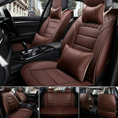 Deluxe Coffee Car PU Leather Seat Cover 5 Seats SUV Auto Front&Rear Cushions Set