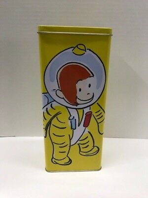 "Curious George Monkey Space Suit Empty Metal Tin 1998 Yellow 11"" Rectangle Rare"