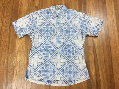Vintage Kahala Mens Hawaiian Polo Shirt Sz M Camp Pineapples Retro Aloha
