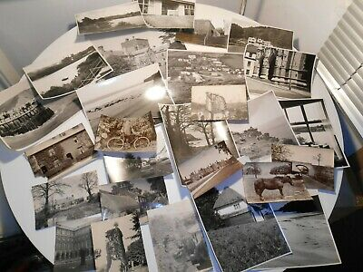 Job Lot Of Antique Vintage PHOTOGRAPHS SOME LARGE CORNWALL TOPO Bicycle Horse