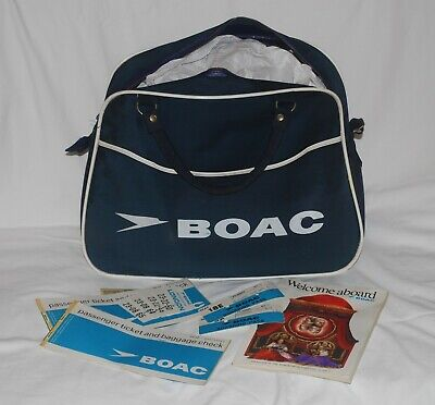 Original 1960's BOAC Flight Bag Hand Luggage +  Tickets/Magazine/Boarding Pass
