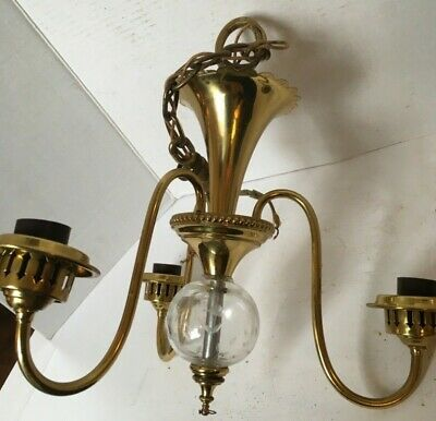 Antique Brass Ceiling Chandelier With Etched Glass Globe