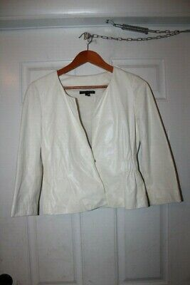9b1558d923 THEORY WOMEN'S WHITE Leather Jacket Size P - $19.99 | PicClick