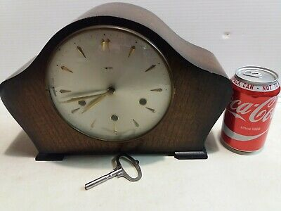 Vintage Smiths Westminster Chimes  3 hole Mantel Clock  with  key