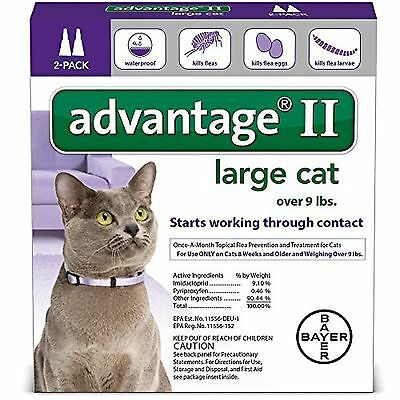 Bayer Advantage II For Large Cats over 9 lbs 2 Pack U.S EPA Approve Product!!!