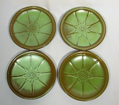 1950's Lot of 4 Frankoma Prairie Green WAGON WHEEL Bread Plates 94G, 6-3/4""