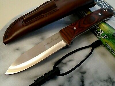 Timber Wolf Bushcraft Full Tang Bowie Hunter Survival Knife Fire Rod Leather 676