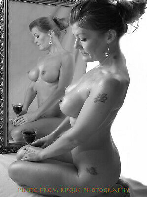 "Nude Woman With Wine 8.5x11"" Photo Print Naked Female Modern Photography Art B&W"