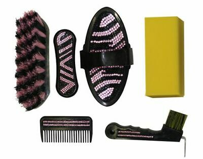 PINK RHINESTONE & ZEBRA Print 6 Piece Livestock Grooming Kit with Matching Case