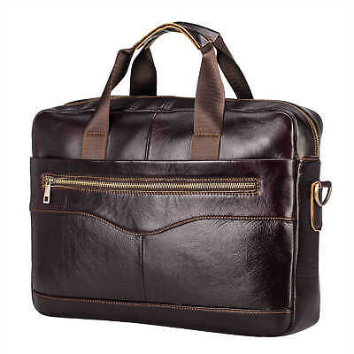 Vintage Mens Genuine Real Leather Briefcase Handbag Laptop Shoulder Bag Brown