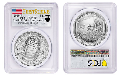2019 P $1 Silver Apollo 11 50th Anniversary PCGS MS70 First Day of Issue Shield