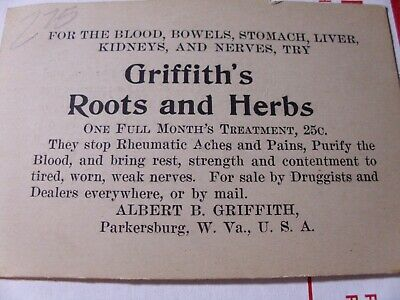 Blood Bowels Stomach Liver Griffth's Roots and Herbs parkersburg WV Nerves 25c