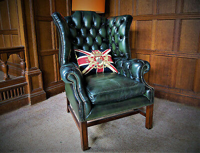 Nice Museum Quality Antique Chesterfield Style Leather Handmade Wingback Armchair Special Buy Armchairs
